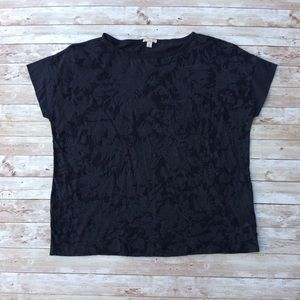 GAP Navy Blue Oversized Lace Print Top Size Small